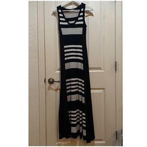 Monteau Dress Striped Black White Maxi Tank EUC